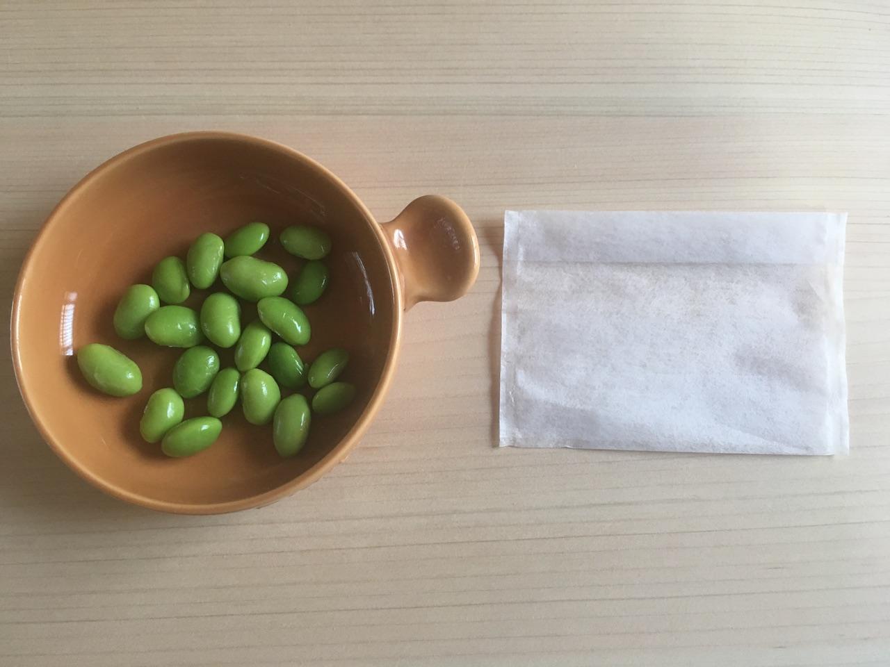 お茶パックと枝豆