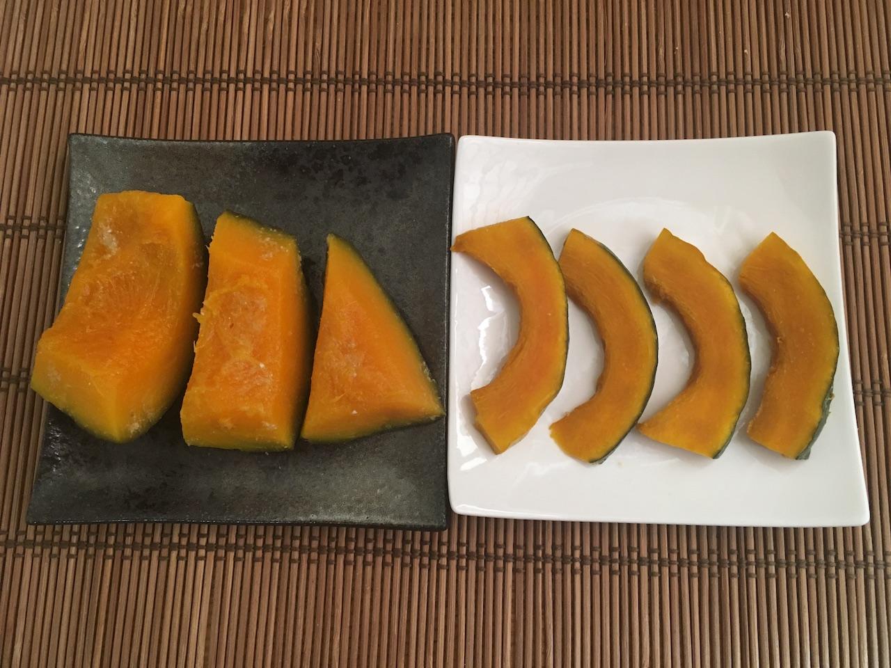 茹でた&茹でてないかぼちゃのぬか漬け