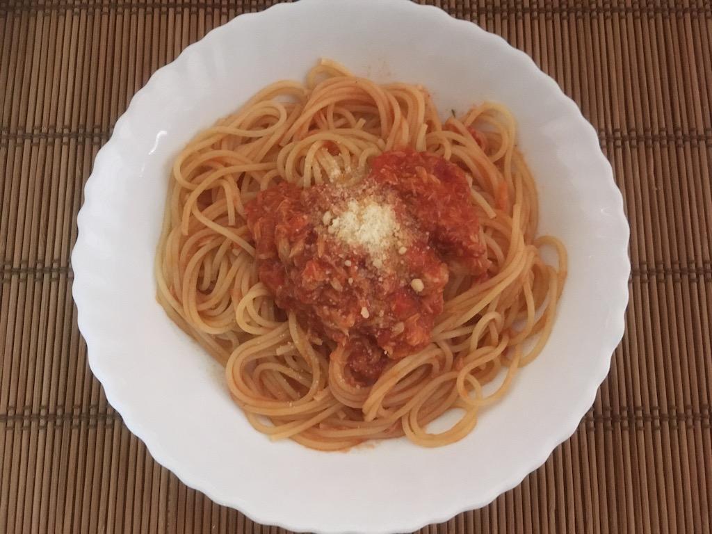 米ぬかを使ったトマトソースとツナのパスタ②