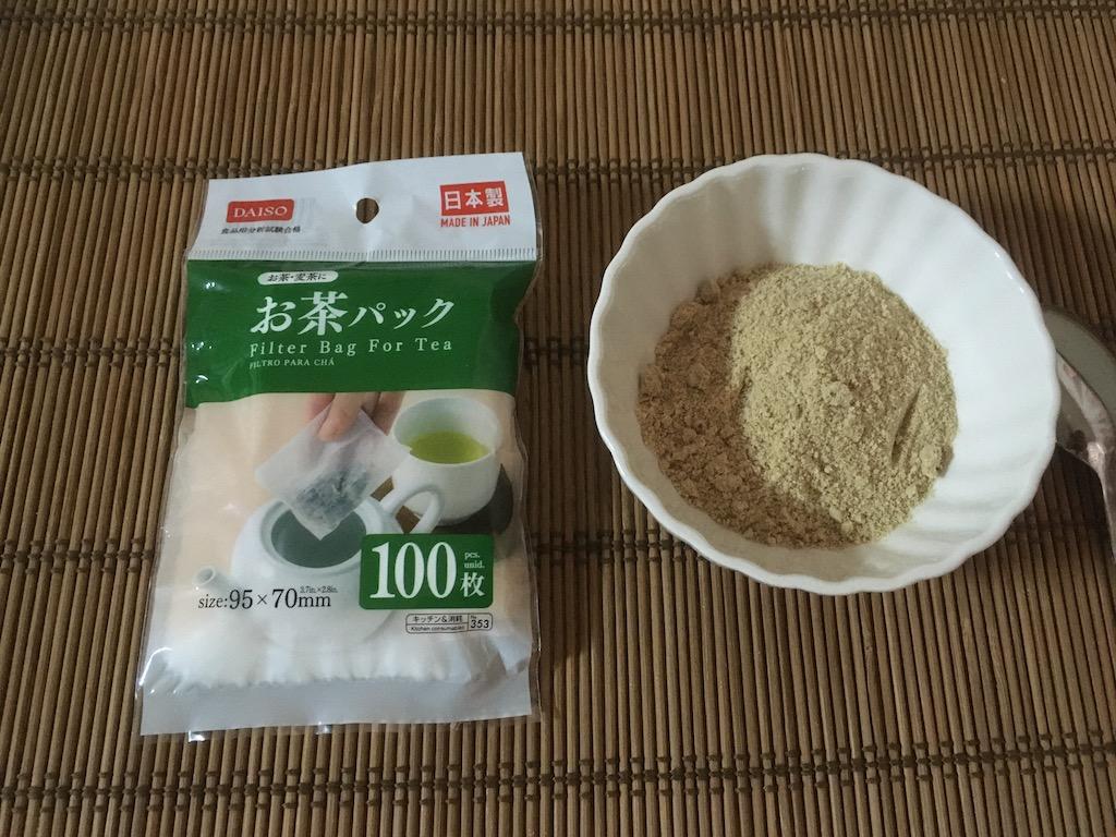 お茶パックと米ぬかで入浴剤を作る